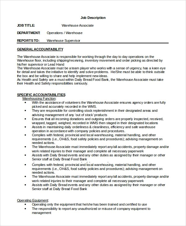 warehouse associate resume sample downloads throughout 21