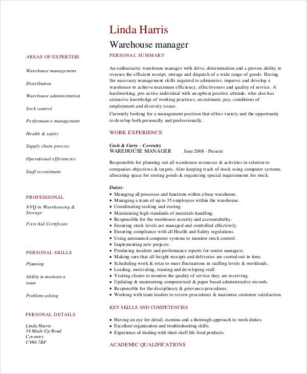 warehouse manager resume sample pdf