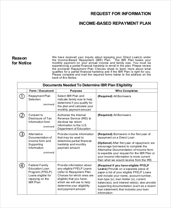 Amazing Sample Income Based Repayment Form   6+ Examples In PDF   Income Based  Repayment Form Nice Ideas