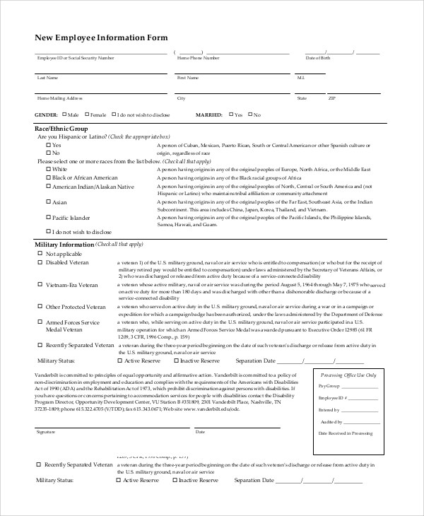 10+ Sample Employee Information Forms Sample Templates - employee information form