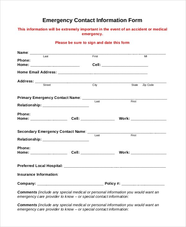 10+ Sample Employee Information Forms Sample Templates