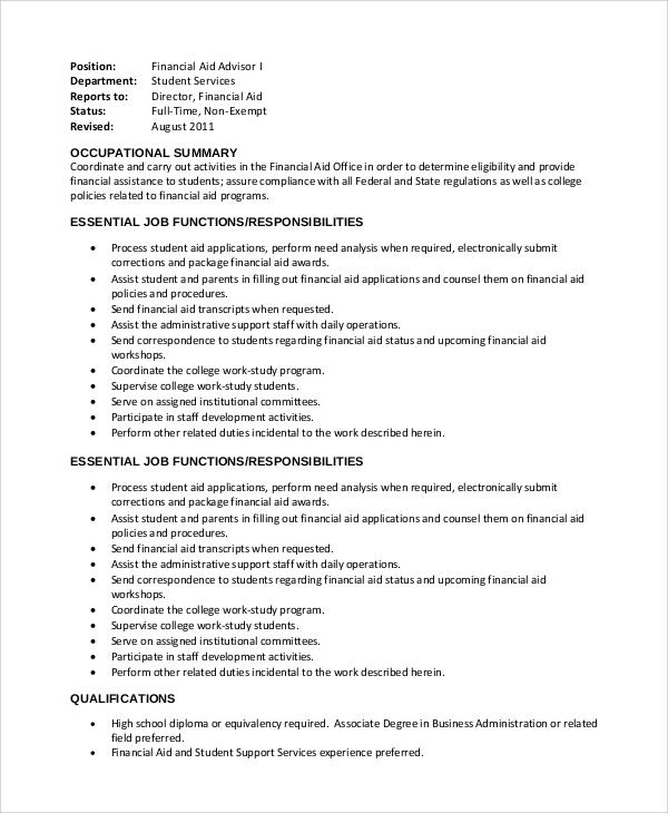 finance advisor job description cover letter assistant to