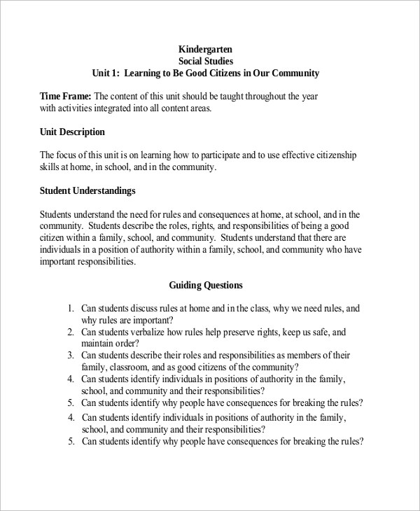 8+ Kindergarten Lesson Plan Samples Sample Templates - social studies lesson plan template