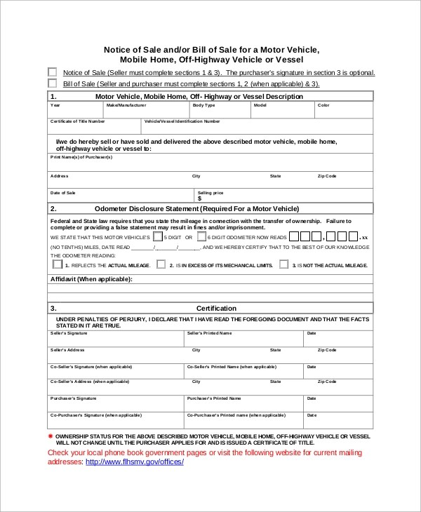 9+ Motor Vehicle Bill of Sale Samples, Examples, Templates Sample - sample dmv bill of sale