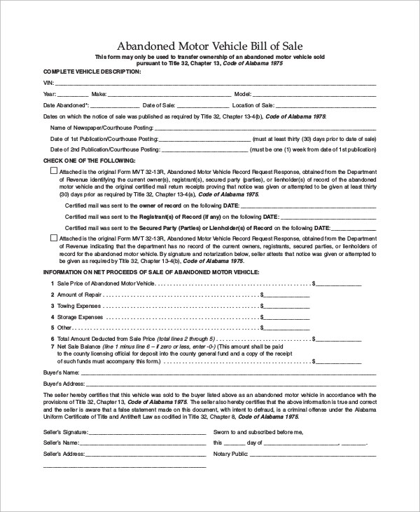 9+ Motor Vehicle Bill of Sale Samples, Examples, Templates Sample - department of motor vehicles bill of sale form