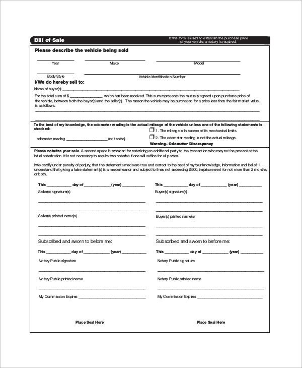 sample auto bill of sale - fototango - sample dmv bill of sale