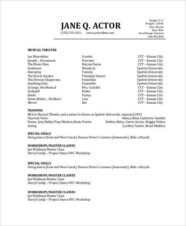 Sample Actor Resume - 6+ Examples in PDF - special skills on acting resume