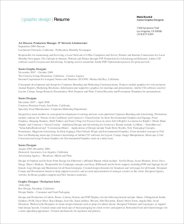 9+ Sample Graphic Designer Resumes Sample Templates - Designer Resume Samples