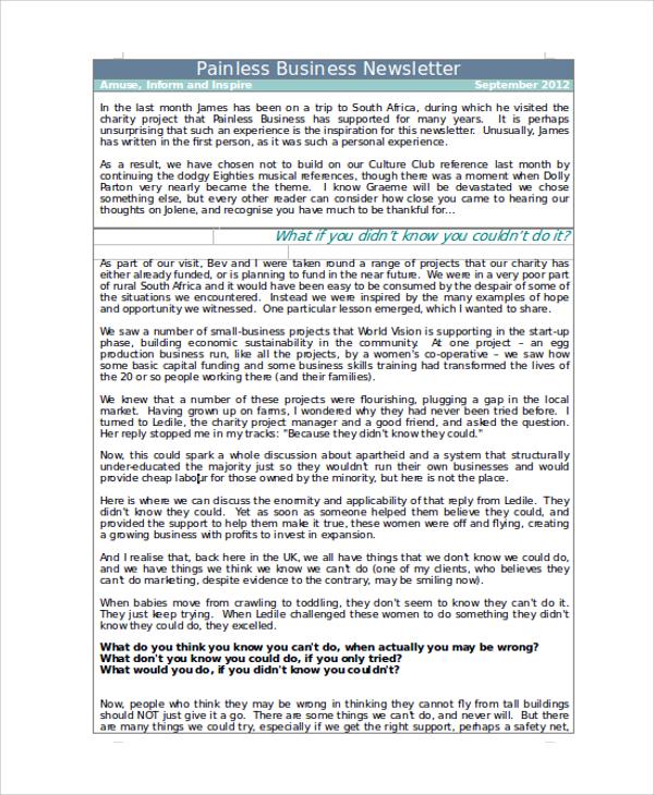 10+ Newsletter Samples in Word Sample Templates - sample business newsletter
