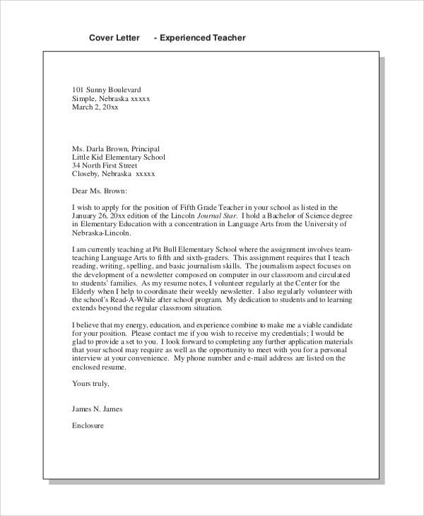 Cover Letter Examples Of Teachers