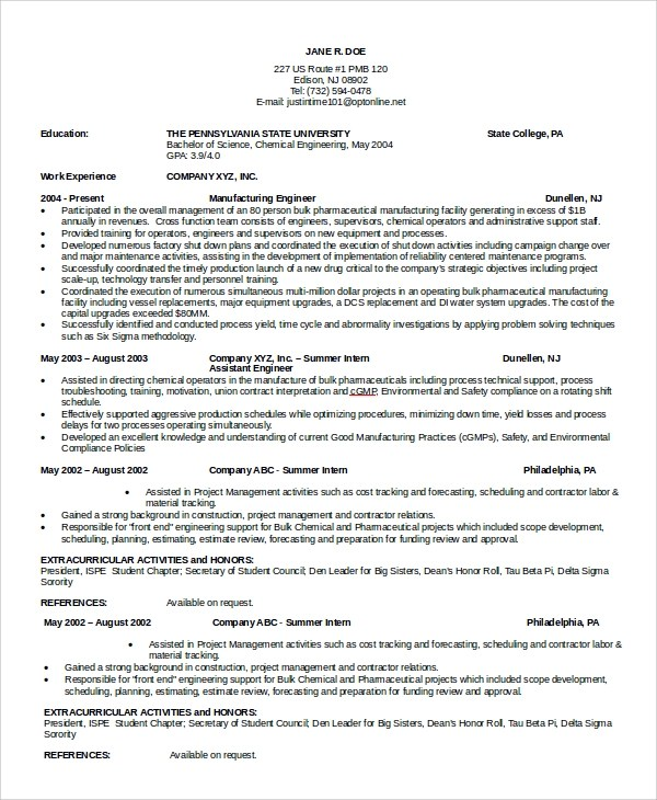 8+ Sample Maintenance Resumes Sample Templates - maintenance engineer resume
