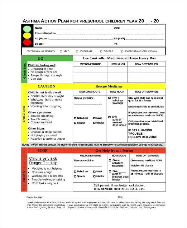 ... Sample Action Plans   46+ Examples In PDF, Word   Asthma Action Plan ...