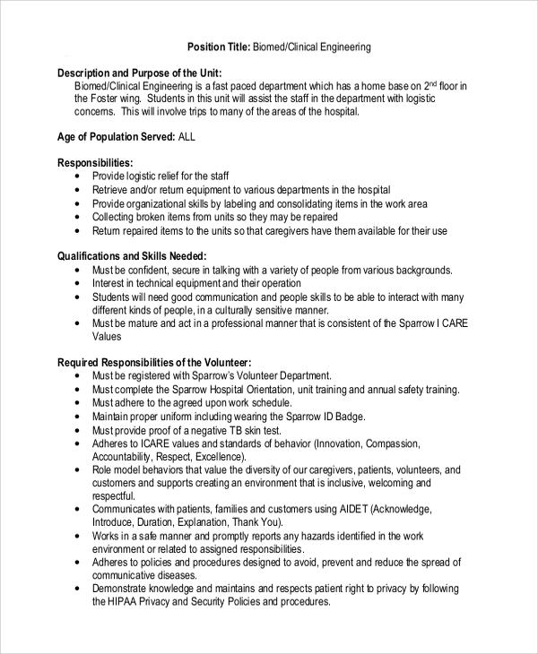 7+ Biomedical Engineering Job Description Samples Sample Templates - biomedical engineering job description