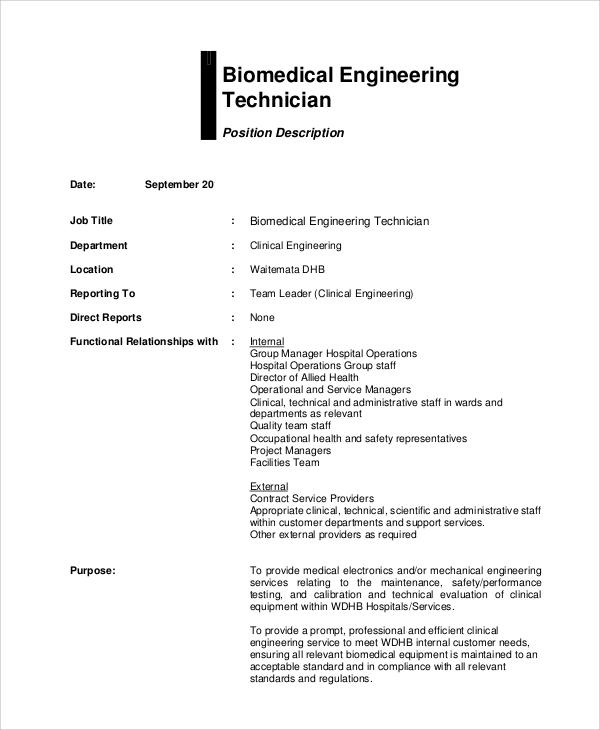 7+ Biomedical Engineering Job Description Samples Sample Templates - sample resume for biomedical engineer