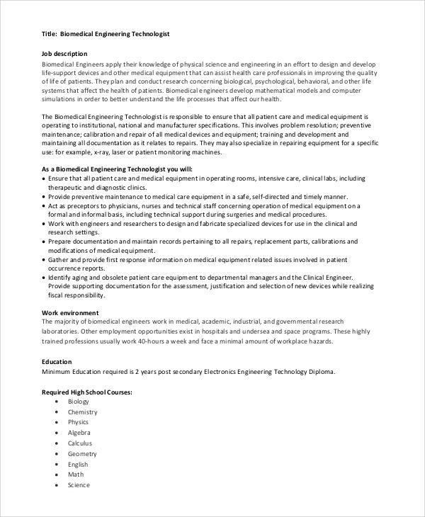 7+ Biomedical Engineering Job Description Samples Sample Templates