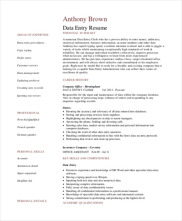 6+ Sample Data Entry Resumes Sample Templates