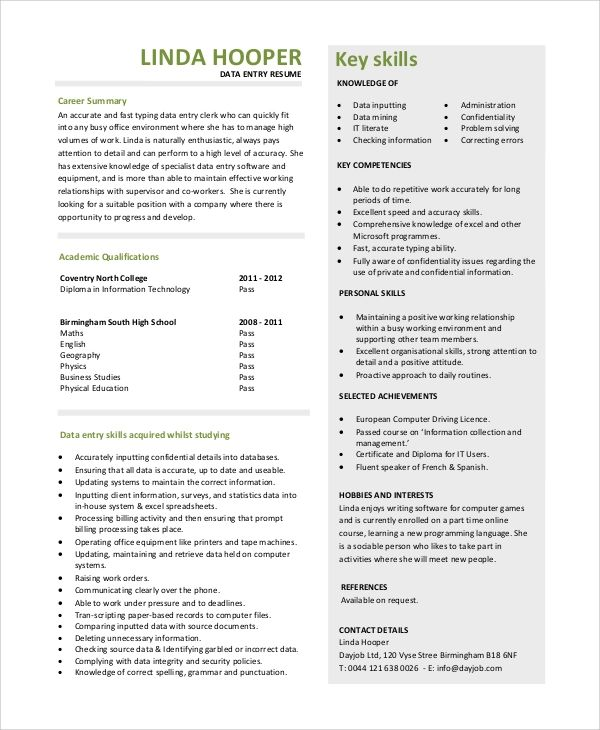 resume qualifications words
