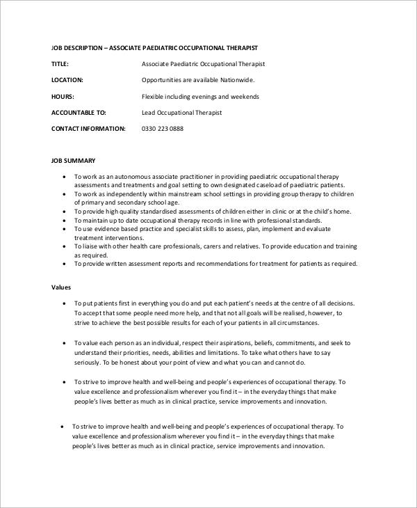 11+ Occupational Therapist Job Description Samples Sample Templates - Pediatrician Job Description