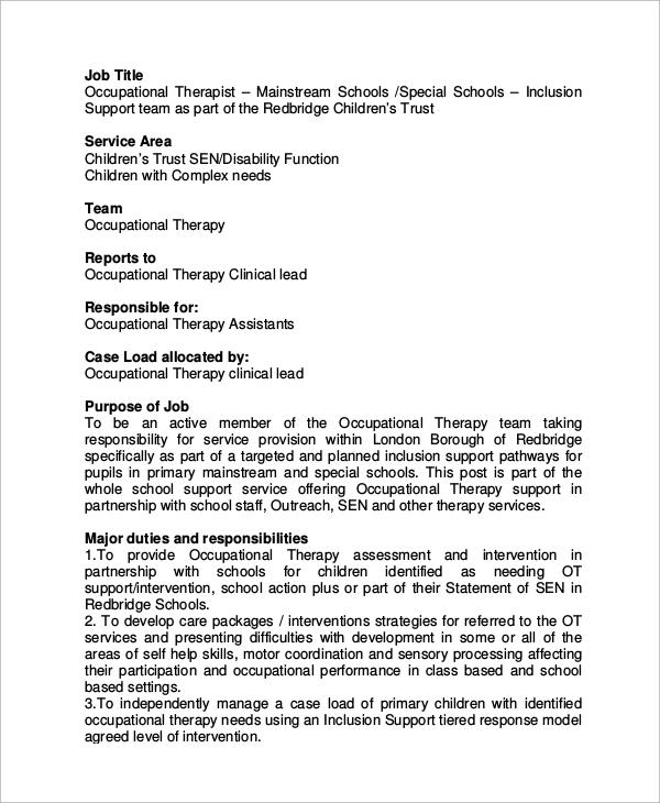 11+ Occupational Therapist Job Description Samples Sample Templates - occupational therapist job description