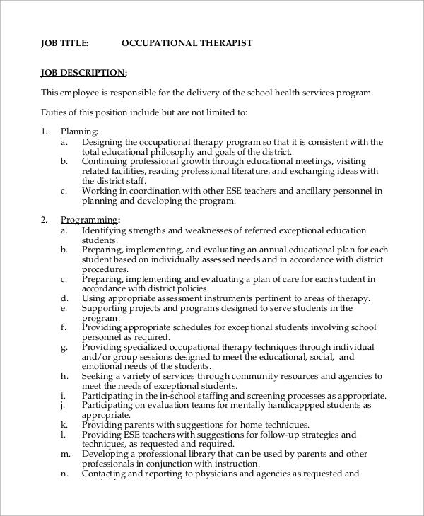 11+ Occupational Therapist Job Description Samples Sample Templates