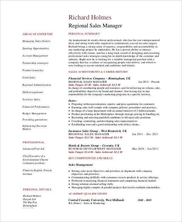 9+ Sample Sales Manager Resumes Sample Templates - resume sales manager