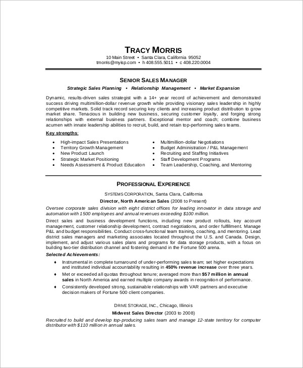 9+ Sample Sales Manager Resumes Sample Templates - sales director resume