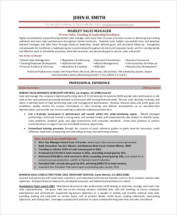 9+ Sample Sales Manager Resumes Sample Templates