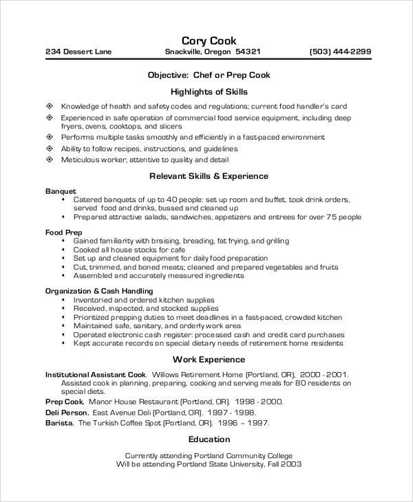 dietary resume