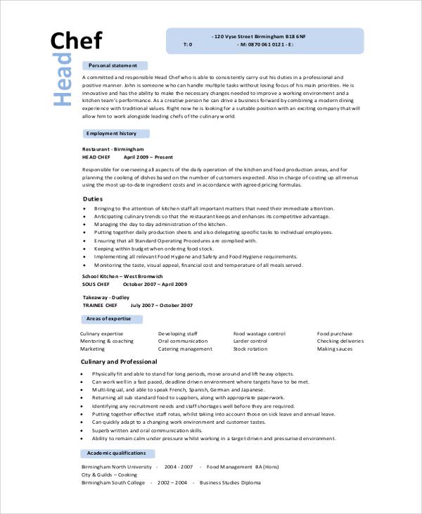 executive sous chef resume template premium resume samples