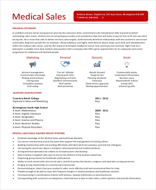 6+ Sample Sales Representative Resumes Sample Templates - medical sales representative resume