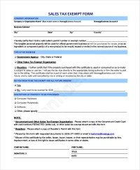 10+ Sample Tax Exemption Forms | Sample Templates