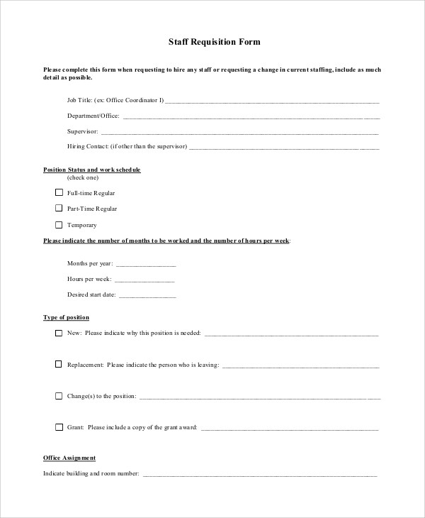 Requisition Form Sample - 10+ Examples in PDF, Word - employee requisition form