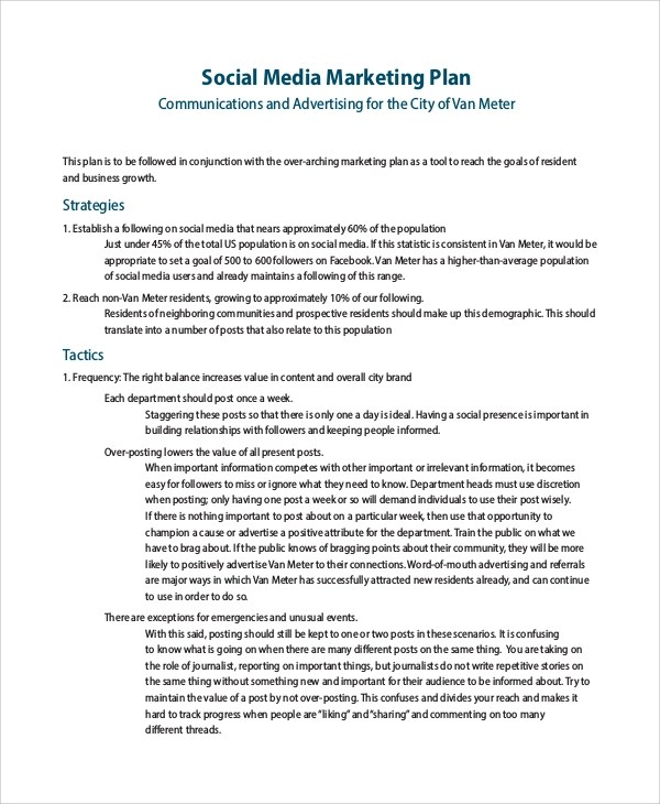 8+ Sample Social Media Marketing Plans Sample Templates - engineering proposal sample