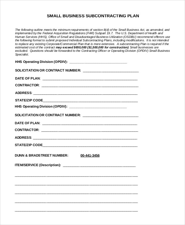 Small Business Subcontracting Plan Template Costumepartyrun - Small business subcontracting plan template
