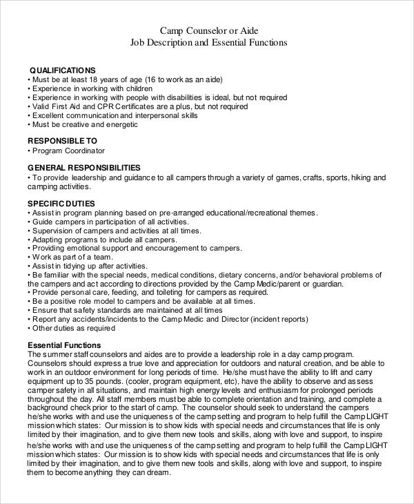 9+ Camp Counselor Job Description Samples Sample Templates - counselor aide sample resume