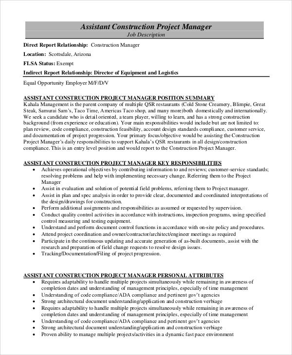 8+ Construction Project Manager Job Description Samples Sample