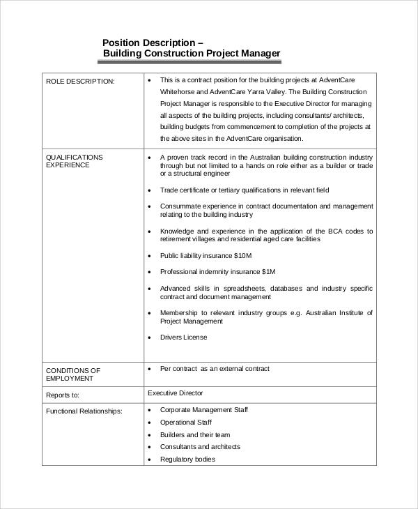 Construction Management Job Description Free Pdf Download; 3 Key - job qualifications sample