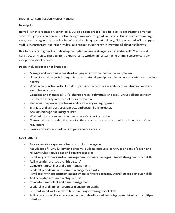 Sample Construction Project Manager Job Description - 8+ Examples in PDF