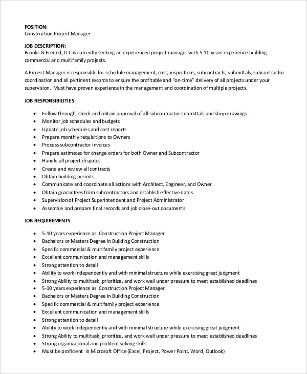 Job Description For Project Manager Civil | Resume File Format