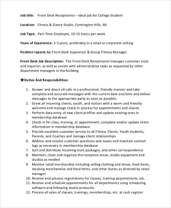 Receptionist Job Description Receptionist-Office-Assistant-Ob - cover letter for receptionist job