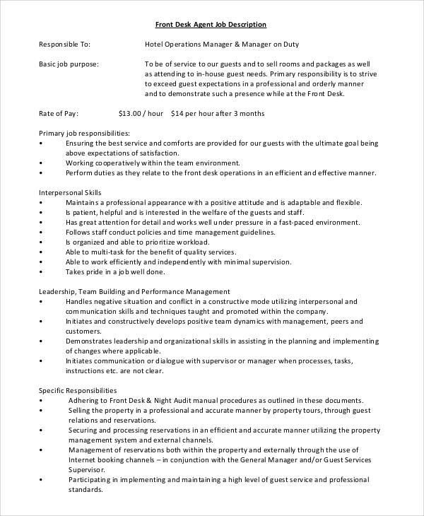 example of desk job resume description