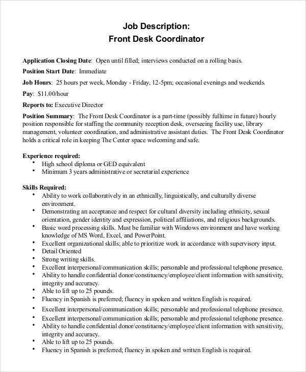 Job Description For Service Coordinator  Latest Resume Builder