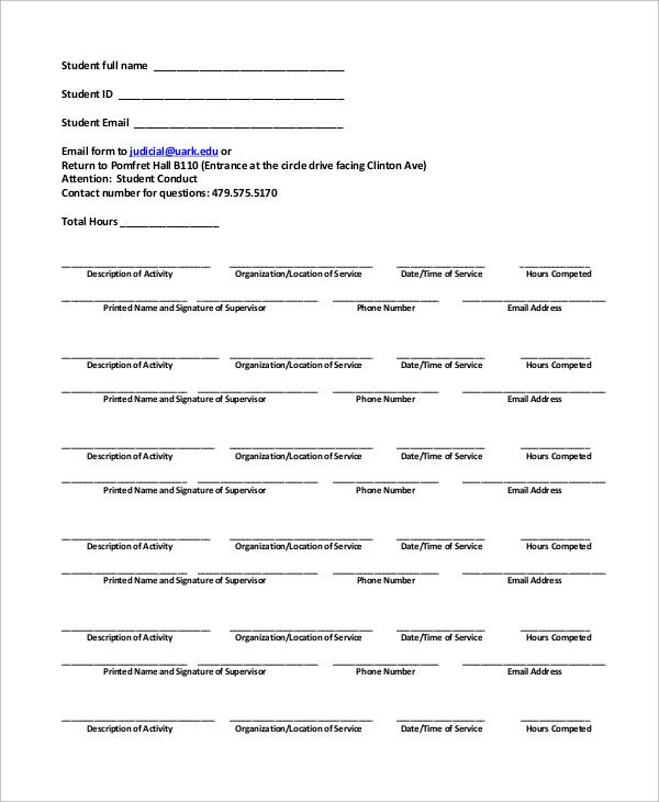 community service form template - Teacheng