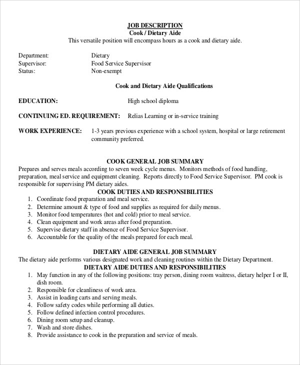 9+ Dietary Aide Job Description Samples Sample Templates - nutrition aide sample resume