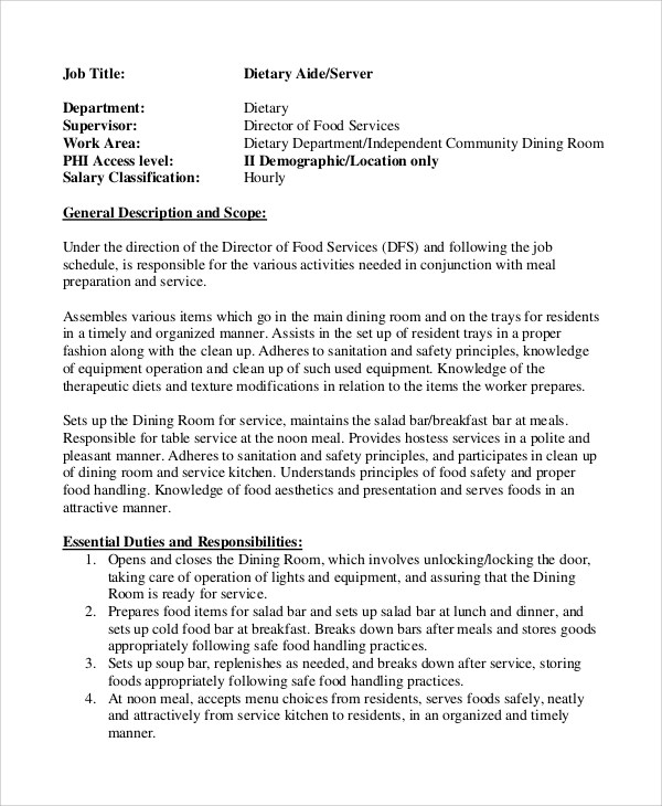 9+ Dietary Aide Job Description Samples Sample Templates