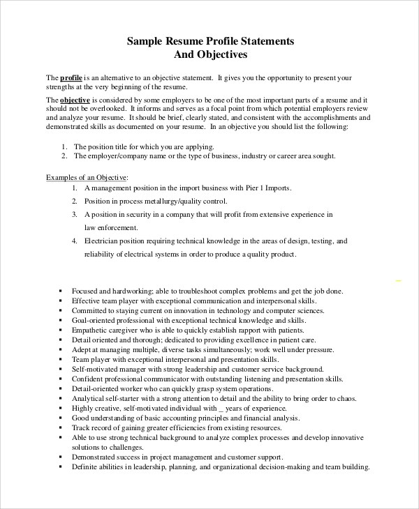 Sample Objective Statement Resume - 8+ Examples in PDF