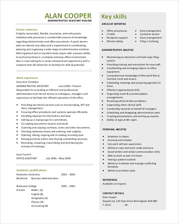 resume objective statement administrative assistant