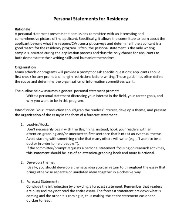 8+ Residency Personal Statement Samples Sample Templates - examples of personal statements