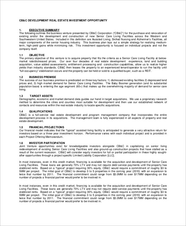 Sample Real Estate Business Plan - 8+ Examples in Word, PDF - construction business plan template