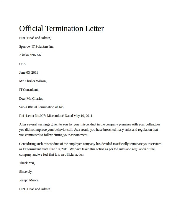 Sample Termination Letter - 9+ Examples in Word, PDF - lease termination letter example
